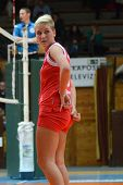 KAPOSVAR, HUNGARY - FEBRUARY 3: Zsofia Horvath (red 5) in action at the Hungarian Championship volle