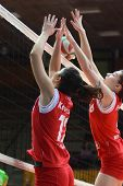KAPOSVAR, HUNGARY - FEBRUARY 3: Kamilla Gyorbiro (R) in action at the Hungarian Championship volleyb