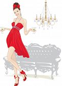 Beautiful girl in red dress walking with glasses of martini and silhouettes of couch and chandelier