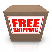 A brown cardboard box with a white sticker and red letters reading Free Shipping offering a special