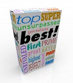 The word Best and many others representing high regard and accolades on a product box, such as top, unrivaled, perfect, premier, unsurpassed, perfect, great, most, first, and more