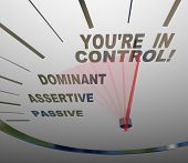 A speedometer with needle pointing to the words You're in Control, passing Passive, Assertive and Do