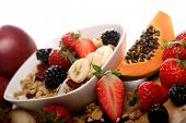 Breakfast with muesli and fresh fruits