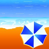 Umbrella Blue And White Color On The Beach Illustration