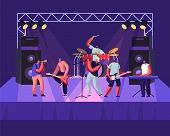 Rock Band Performing On Stage. Electric Guitarists, Drummer, Singer, Trumpeter Music Concert. Men Ar poster