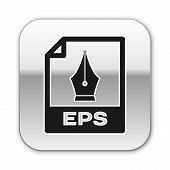 Black Eps File Document Icon. Download Eps Button Icon Isolated On White Background. Eps File Symbol poster