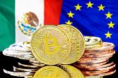 Concept For Investors In Cryptocurrency And Blockchain Technology In The Mexico And European Union.  poster