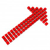 Red 3D arrow made of many cubes on white background