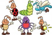 Cartoon bugs. Vector illustration. Each in a separate layer for easy editing.