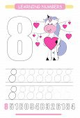 Funny Children Flashcard Number Eight. Unicorn With Hearts Learning To Count And To Write. Coloring  poster