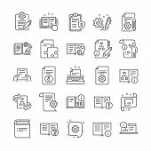 Technical Document Line Icons. Set Of Plan, Instruction And Manual Icons. Help Document, Building Pl poster