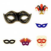 Bitmap Illustration Of Carnival And Theatrical Sign. Set Of Carnival And Mystery Bitmap Icon For Sto poster