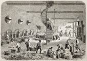 Madame Warrick perfumery factory in Nice, France. Created by Gaildrau after Lieto, published on L'Illustration, Journal Universel, Paris, 1863