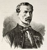 Captain Edouard Frederic Michelon old engraved portrait (Captain of Zouave regiment, dead during Pue