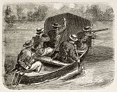 French riflemen shooting enemy from a boat (Cochinchina campaign). Created by Worms, published on L'