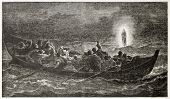 Christ walking on the sea, old illustration. Created by Jalabert, published on L'Illustration, Journ