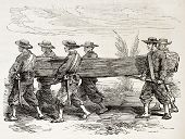 French soldiers carrying a boat (Cochinchina campaign). Created by Worms, published on L'Illustratio
