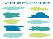 Minimalistic Label Brush Stroke Backgrounds, Paint Or Ink Smudges Vector For Tags And Stamps Design. poster