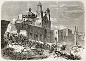 French intervention in Mexico: assault to Notre-Dame de Guadalupite church in Puebla by French army