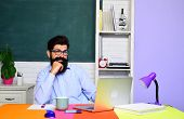 Smiling Male Student Studying In School. Happy Student Or Man Teacher. Bearded Teacher In Classroom. poster