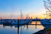 Tacoma Port And Marina With Boats At Sunset.