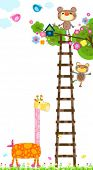 giraffe and little monkeys near a tree with a bird`s house
