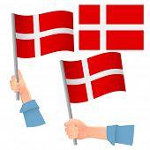 Denmark Flag In Hand. Patriotic Background. National Flag Of Denmark  Illustration poster