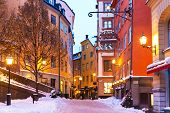 Winter in der Altstadt in Stockholm, Schweden