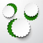 Vector abstract composition of white notched out paper round flower bubble. Eps10 illustration.