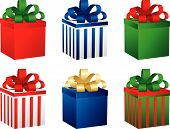 Set Of Six Gift Boxes. Vector.