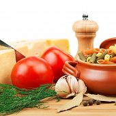 Vegetables, Pasta, Spices And Kitchen Utensils