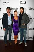 LOS ANGELES - JAN 10:  Zachary Knighton, Elisha Cuthbert, Adam Pally attends the ABC TCA Winter 2013