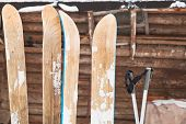 Two Pairs Of Wide Skis