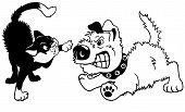 Enojado de dibujos animados gato y perro negro blanco