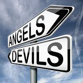 image of hells angels  - angels and devils choice between heaven and hell road sign arrow with text - JPG