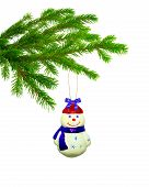 Christmas Toy  Snowball On Tree Isolated