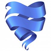 Blue ribbon banner in the shape of heart isolated on white background