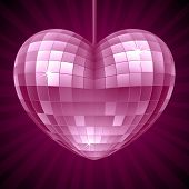 Vector Disco Heart. Purple mirror disco ball in the shape of heart