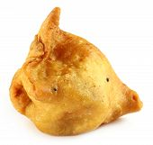 picture of samosa  - South Asian Shingara or Samosa over white background - JPG