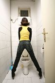 picture of transexual  - Transvestite standing in Toilet and pee - JPG