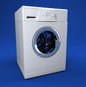 stock photo of washing machine  - fine image 3d of classic washing machine background - JPG