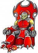 Señor de la guerra alienígena en trono Vector Art