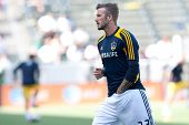 CARSON, CA - MAY 5: David Beckham warms up before the MLS game between the Los Angeles Galaxy and th