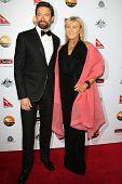 LOS ANGELES - JAN 12:  Hugh Jackman, Deborra-Lee Furness arrives at the 2013 G'Day USA Los Angeles Black Tie Gala at JW Marriott on January 12, 2013 in Los Angeles, CA..