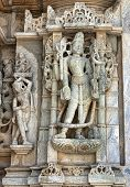Ancient Sun Temple In Ranakpur. Jain Temple Carving.