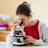 Girl examining preparation under the microscope