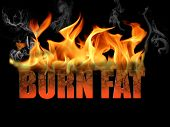 stock photo of flames  - This conceptual digital art is the words burn fat to show dieting weight loss etc with flame text on a black background - JPG