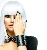 Fashion Beauty Girl. Punk Style Woman isolated on White Background. White Hair and Black Nails. Blac