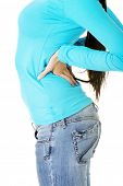 Teen student woman with back pain isolated