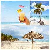 Exotic beautiful caribbean beach. Travel destination background. poster